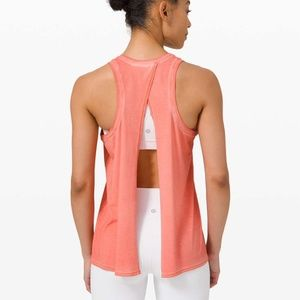 Lululemon All Tied Up Coral Open Back tank Top 6-8